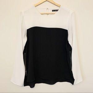 Zara   Black & White Color Block Crepe Blouse